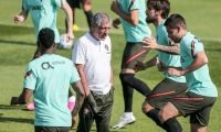 Trio do City e Gonçalo Guedes cumpriram primeiro treino por Portugal